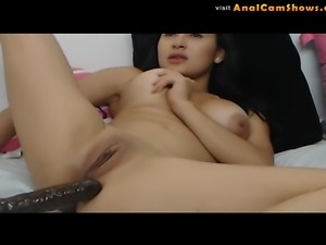 Slutty latina fucks her asshole on cam