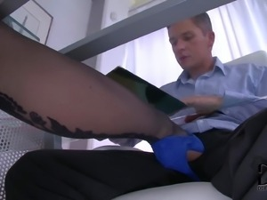 PornSharing.com adult movie - Elegant four-eyed babe in blue tight feet dress...