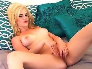 Turned on slender blonde babe Catie Parker with big natural boobs and dark...