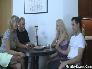 Perverted parents fuck his GF free