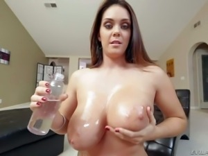 www.PornSharing.com sexy videoclip : Topless brunette Alison Tyler pours body...