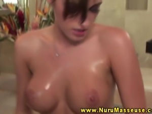 Bigtitted babes rubs her tits on cock and teasingly sucks cock