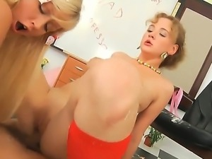 Good looking blonde and brunette sluts Anita Hengher and Bella D with nice...