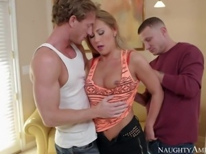 Smoking hot young blonde with natural boobs and long legs in high heels gives...