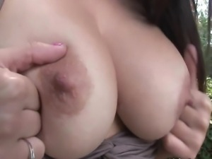 Cute girl next door with sexy ass and huge tits stripping in public