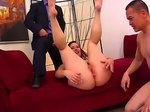 Cuckold redhead Melody Jordan with juicy tits and gigantic round ass gets...