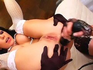 Young playful blonde bitch Tara White with poerced togue and cheep heavy make...