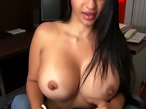Amazing, cool and very sexual brunette woman with nice boobs and butt is...