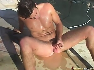 He strokes is dick in the pool and finish it in the bathroom