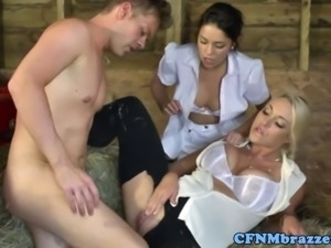 CFNM femdom sluts ruling over dude as they suck his dick