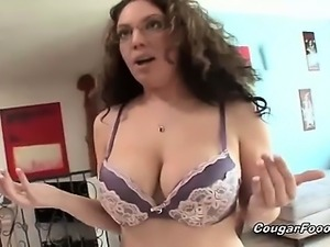 Horny brunette MILF slut with huge boobs gets horny and