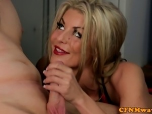 Blonde femdom cfnm skank gives head to held down dude