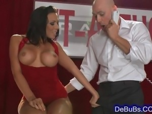 Luscious brunette with huge perky boobs sucking fat rock hard cock