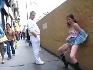 Another exhib maid and urine in public this girl is one of the most crazy...