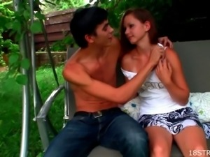 Naughty teen couple is having an intense outdoor fucking