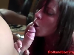 Real euro hooker drinks amateur cum