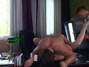 Turned on whorish brunette lezzies Cathy Heaven and Valentina Chevallier with...