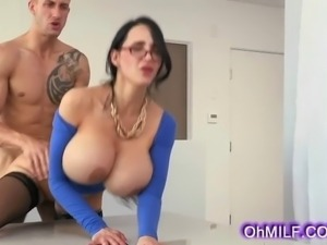 Very sexy Brunette MILF is the sexy Naughty boss who wants a swollen cock to...