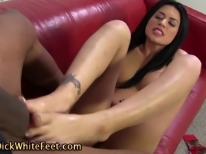 White sluts fucked feet get interracial cumshot in hd