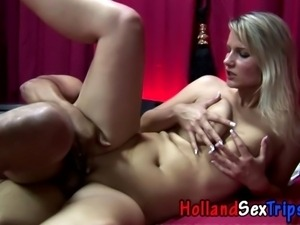 Real ho in heels gets tits cumshot for cash in hi def