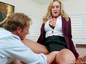Brandi Love is one on one with her employee Ryan Mclane. He does his best to...
