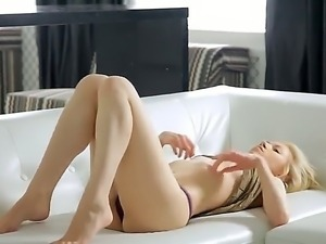 Amazing blonde with natural tits and pale body Erica enjoys self serving her...