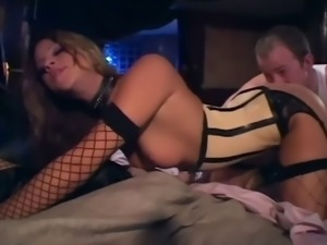 Monica teasing and fucking in boots a latex corset and fishnet stockings