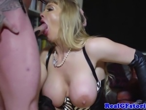 BDSM blonde real MILF anal plowed hard and facialized