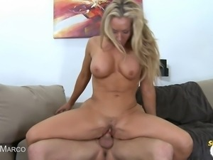 Lisa Demarco gets her pussy slammed in her high heels and gets a nice facial