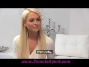 FemaleAgent Seriously sexy shy blonde creates hot casting video free