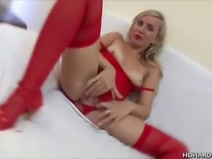 We have this blonde babe in her red lingerie name Lana as she teases us on...