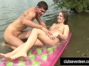 Brown haired teen cutie gets pussy fingered and fucked at the lake