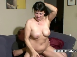 Curvy brunette housewife Claudine gets her mature pussy pounded with a stiff...