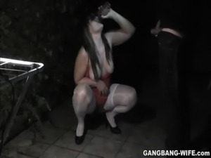 Slutwife pissed on by some guys outdoors free
