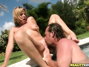 Blonde with giant jugs and trimmed snatch is ready to suck guys fuck stick...