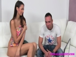 FemaleAgent MILF gets his wifes pussy wet for him on the casting couch free