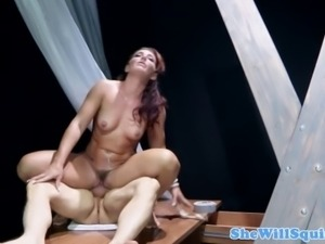 BDSM brunette squirter riding cock of her lucky master