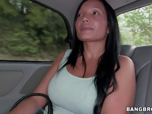 Raven haired busty Colombian mom Casandra is proud of her perfect huge fake...