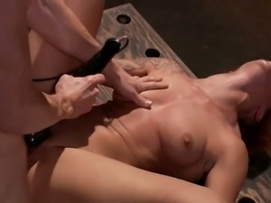Redhead slave gets bound, banged and dildoed hard