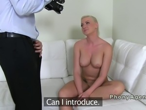 Busty amateur masturbates and fucks on casting