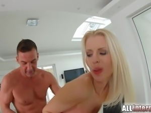 All Internal Nordic blonde laps up creampie