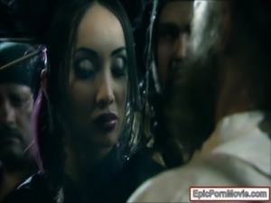 Pirate hunter Shay Jordan rough threeway with two horny pirates free