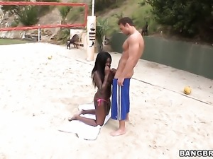 Tatiyana Foxx with phat booty and smooth twat has some interracial sex...