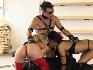 Leather fetish with two Amazing Girly