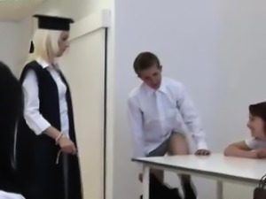 CFNM guy in school punishment fantasy with femdom girls
