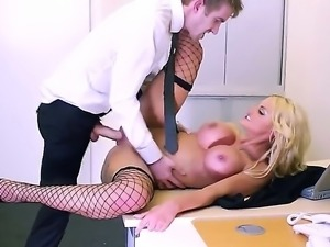 Candy sexton wants to make it porn. She is wearing nylon stockings and has a...
