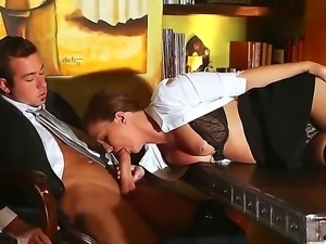 Maddy is a slutty secretary in sexy stockings. Her boss wants her to do more,...