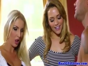Beautiful blonde duo fuck a gardener together free