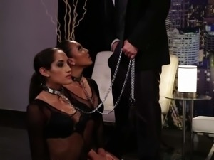 Two obedient dark haired babes on a leash Adriana Luna and Chloe Amour...
