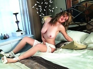 Louise Emerson with huge melons and smooth muff touches her fuck hole gently